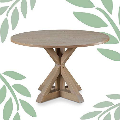"""Finch Alfred Round Solid Wood Rustic Dining Table for Farmhouse Kitchen Room Decor, Wooden Trestle Pedestal Base, 47"""" Wide Circular Tabletop, Distressed Beige"""