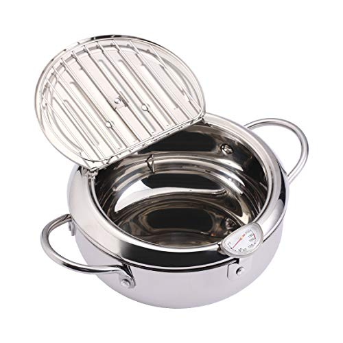 EAMATE Stainless Steel Tempura Fry Pot, 8 Inches Tempura Deep Fryer with Thermometer and Lid, Kitchen Deep Fryer Pot