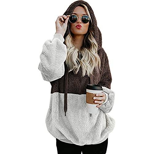 FMYONF Sudadera con capucha para mujer, elegante bloque de colores, de forro polar de peluche, de manga larga, monocolor, para otoño e invierno, marrón, XXXL