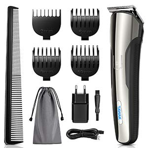 TAWAK Haarschneider Haarschneidemaschine für Männer, Haartrimmer mit 4 Aufsätzen, kabelloses Haarschneidegerät mit Langlebiger Akku, wasserdichte Kopfbehaarung