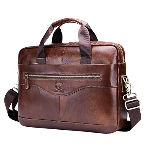 leather laptop bags Leather Laptop Bag Business Briefcase Messenger Handbag for Men Travel Outdoor Carry All Protection for 14 Inch Computer Crossbody Shoulder Satchel Bags Casual Pack Pouch Daypack Brown