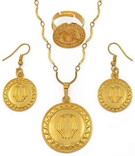 Yaoliangliang Collar Color Oro Papua Guinea Collares Pendientes Pendientes y Anillo redimensionable PNG Conjuntos de Joyas de Estilo Nacional