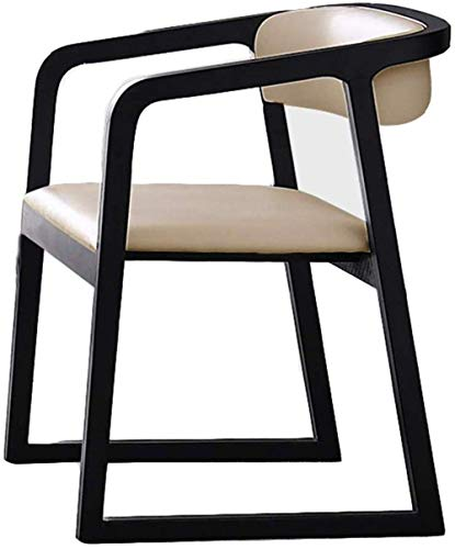 Silla de comedor de madera maciza, asiento de hotel, restaurante, piel sintética, color marrón, 56769L8R2O
