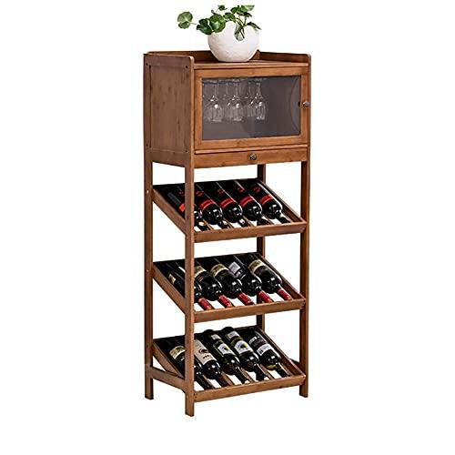 Productos para el hogar Estantes para vino Estante para vino de madera Soporte vertical para exhibición de botellas independiente con 2 listones Madera maciza Material de bambú Simplicidad moderna Sop