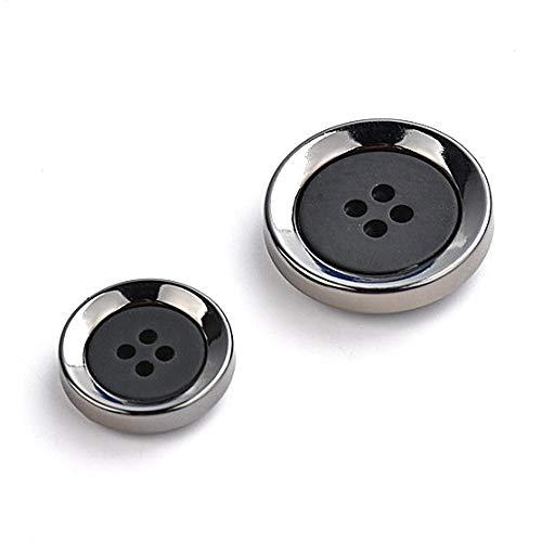 【選べるサイズ】ボタン スーツボタン 袖口ボタン ジャケットボタン コートボタン 黒 メタリック シンプル 4穴ボタン (大:4個セット)
