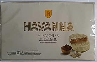 Alfajores Havanna de chocolate Blanco rellenos de dulce de leche x 12 unidades