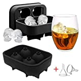SwirlColor Molde Hielo Calavera 3D Skull Ice Cube Tray Mould Silicone Ice Cube Maker para Whisky Ice y cócteles