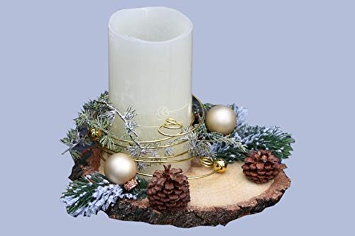 Adventsgesteck Nr.35 Baumscheibe mit LED Kerze und Golddraht Weihnachtsgesteck, Wintergesteck, Advent Adventskranz