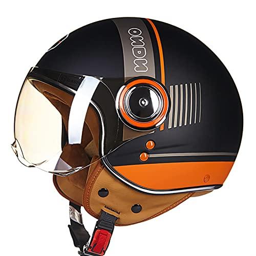 SJAPEX Casco Moto Abierto Custom Scooter para Mujer Hombre Adultos Casco de Moto de Cara Abierta Retro con Gafas y Visera para el Sol Certificado por Dot/ECE Cascos Scooter Universal E,L=57~58cm