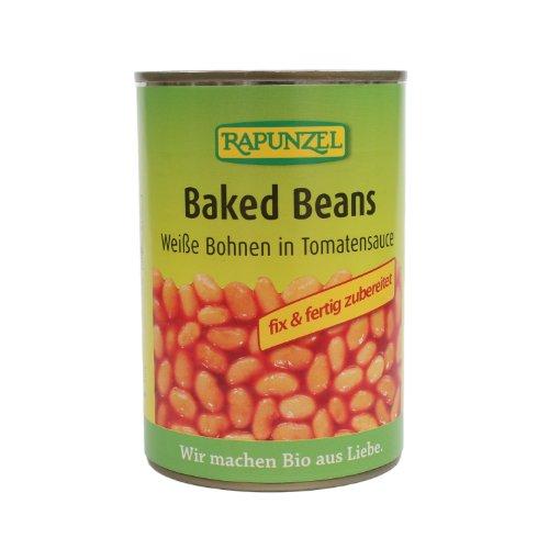 Rapunzel Bio Baked Beans in der Dose, Weiße Bohnen in Tomatensauce, 4er Pack (4 x 400g) - BIO