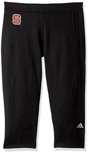 adidas Adult Women NCAA Team Logo Techfit Solid 3/4 Tight, Large, Black, North Carolina State Wolfpack