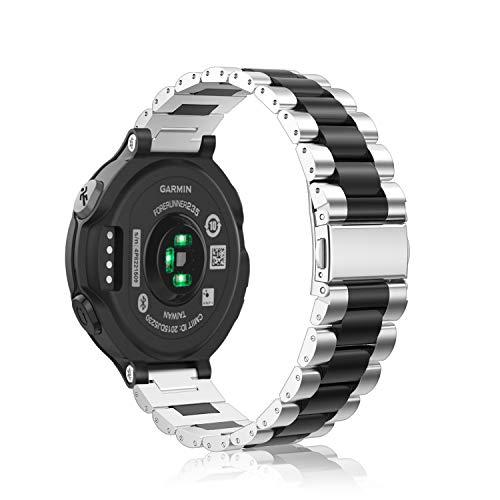 Fintie Armband kompatibel mit Garmin Forerunner 235/220 / 230/620 / 630 / 735XT Smart Watch - Uhrenarmband Edelstahl Metall Ersatzband, Silber/Schwarz