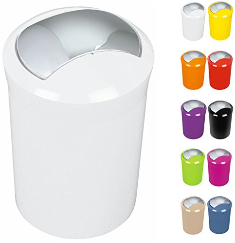 """Spirella Design Kosmetikeimer 10.01769""""Sydney mit Schwingdeckel 5 Liter (ØxH): 19 x 30 cm Weiß"""