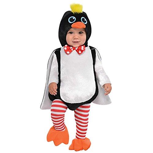 amscan 9902072 Baby Pinguin Kostüm mit abnehmbarem Kapuzenpullover, Alter 6-12 Monate, 1 Stück, Weiß / Schwarz