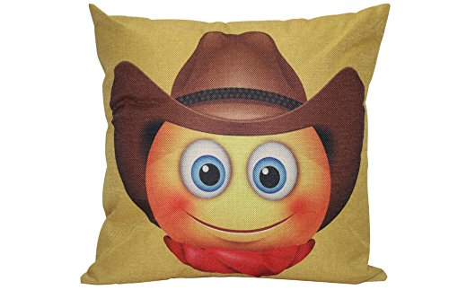 HGOD DESIGNS Funny Emoji Pillowcase Cowboy Face Emoticon Pillow Cover 18'x 18' Soft Square Fashion Emoji Face Pillow Cover Two Sides Home Decorative Best Gift for Lovers Families Friends