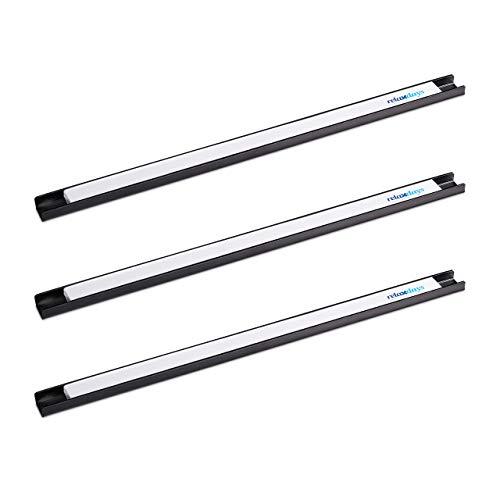 Relaxdays Magnetleiste 3er Set, für Werkzeug, stark magnetisch, Werkstatt, Garage, Büro, 45 cm lang, Stahl, schwarz/weiß