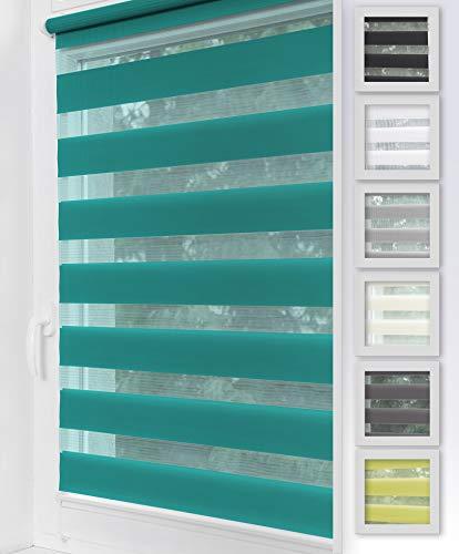 Home-Vision Duo Rollo Klemmfix, Doppelrollo ohne Bohren mit Klämmträgern, Rollos für Fenster und Türen (Türkis, B90cm x H150cm)