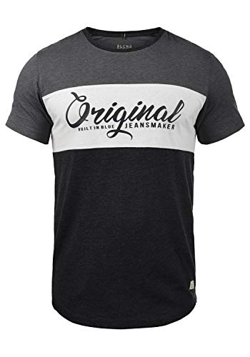 Blend Nero Herren T-Shirt Kurzarm Shirt Print Mit Streifen Und Rundhalsausschnitt, Größe:XL, Farbe:Charcoal (70818)