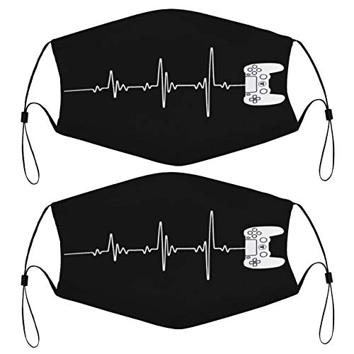 Gaming Gamers Heart Beat Design Kids Face Mask Set of 2 with 4 Filters Washable Reusable Adjustable Black Cloth Bandanas Scarf Neck Gaiters for Adult Men Women Fashion Designs