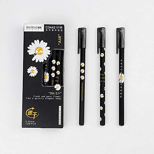12 Pack Gel Pens, Medium Point Black Ink Gel Pen Office Supplies for Journaling, Fine Point Rollerball for Writing, Taking Notes & Sketching (0.35mm)