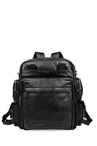 """Tiding Unisex vera pelle Multiuso duffels Viaggi Weekender All'aperto Tempo libero 16 """"Laptop Zaino a tracolla della borsa Nero"""