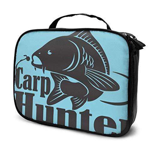 Carp Hunter Fishing Bow Hunter Bolsa de cosméticos de Viaje, Capacidad con Cremallera Organizador Bolsa de Maquillaje con asa Superior Bolsa de Almacenamiento portátil para Mujeres