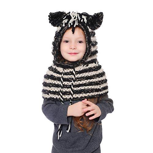 Gestrickte Hüte Baby Kinder Mädchen Jungen Wintermütze Strickmütze Schlupfmütze Winter Mützen mit Schal Hut Beanie Mützen für Herbst Winter (Zebra-Schwarz)