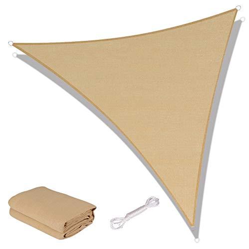 SUNNY GUARD Toldo Vela de Sombra Triangular 5x5x7m HDPE Transpirable protección UV para Patio, Exteriores, Jardín, Color Arena
