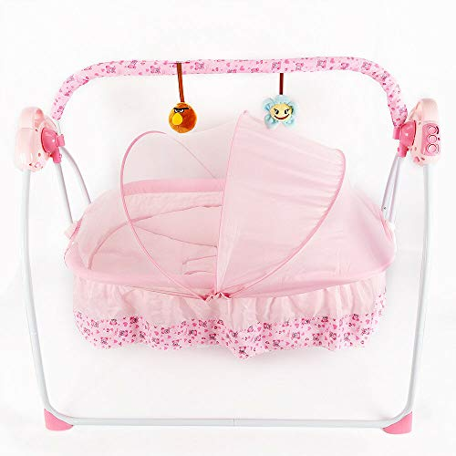 Auto Baby Swing,Electric Baby Crib Cradle Infant Rocker, 5V 2W Swing Bed Baby Cradle Suit for 0-18 Months 25kg with Music Remote Control Swing Sleep Bed Cots Blue/Pink/Khaki(Optional Color) (Pink)