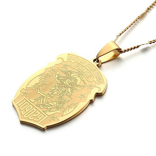 Insignia De Policía Personalizada De San Miguel De Acero Inoxidable con Número De Insignia De Departamento Colgante Collar Joyería