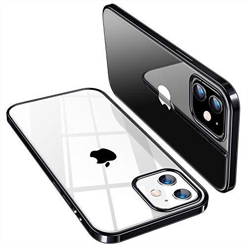 TORRAS Crystal Clear Hülle Kompatibel mit iPhone 12 Mini, Vergilbungsfrei Silikon Hülle Durchsichtig Dünn Handyhülle (Schwarz)