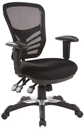 Hercke Deluxe Mesh Back Ergonomic Lumbar Support Multi-Function Adjustable Office Chair – 360 Degree Swivel 330lb Capacity Black with Two-Tone Heavy Duty Base – Breathable Sponge Seat Cushion