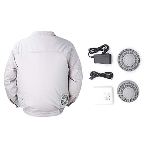 APENCHREN Männer Klimaanlage Kleidung/Lüfterjacke, Arbeitskleidung - für Hochtemperaturarbeiten im Freien Sommer Angeln Reisen Camping und Fahrrad,Grey-XXXL