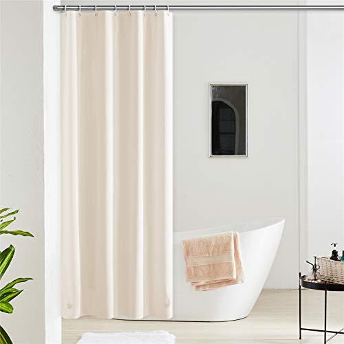 Furlinic Duschvorhang Anti-schimmel Wasserdicht Klein Badvorhang aus Eva 120x180cm Beige mit 8 Duschvorhangringen Saum mit Steinen.