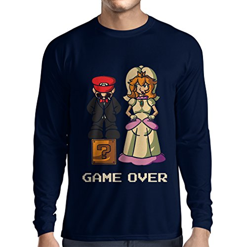 lepni.me N4441L T-Shirt à Manches Longues The Game is Over (Large Bleu Multicolore)