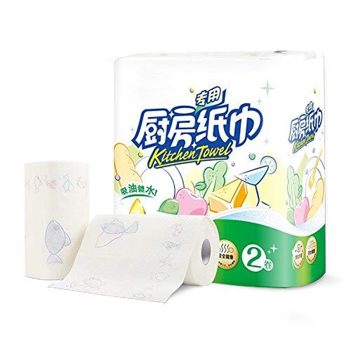Jinclonder 2 rollen groot formaat verdikte patroonrol papier keukenpapier handdoek absorberend papier native houtcellulosereinigingsservet water uit groenten en fruit aflaten