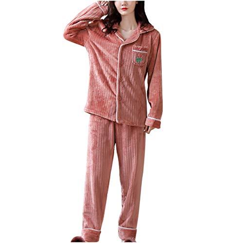 Kobay-Damen Bequeme Textur Mode Flanell Animal Print Tasche Langarm + Langhose Pyjama Anzug