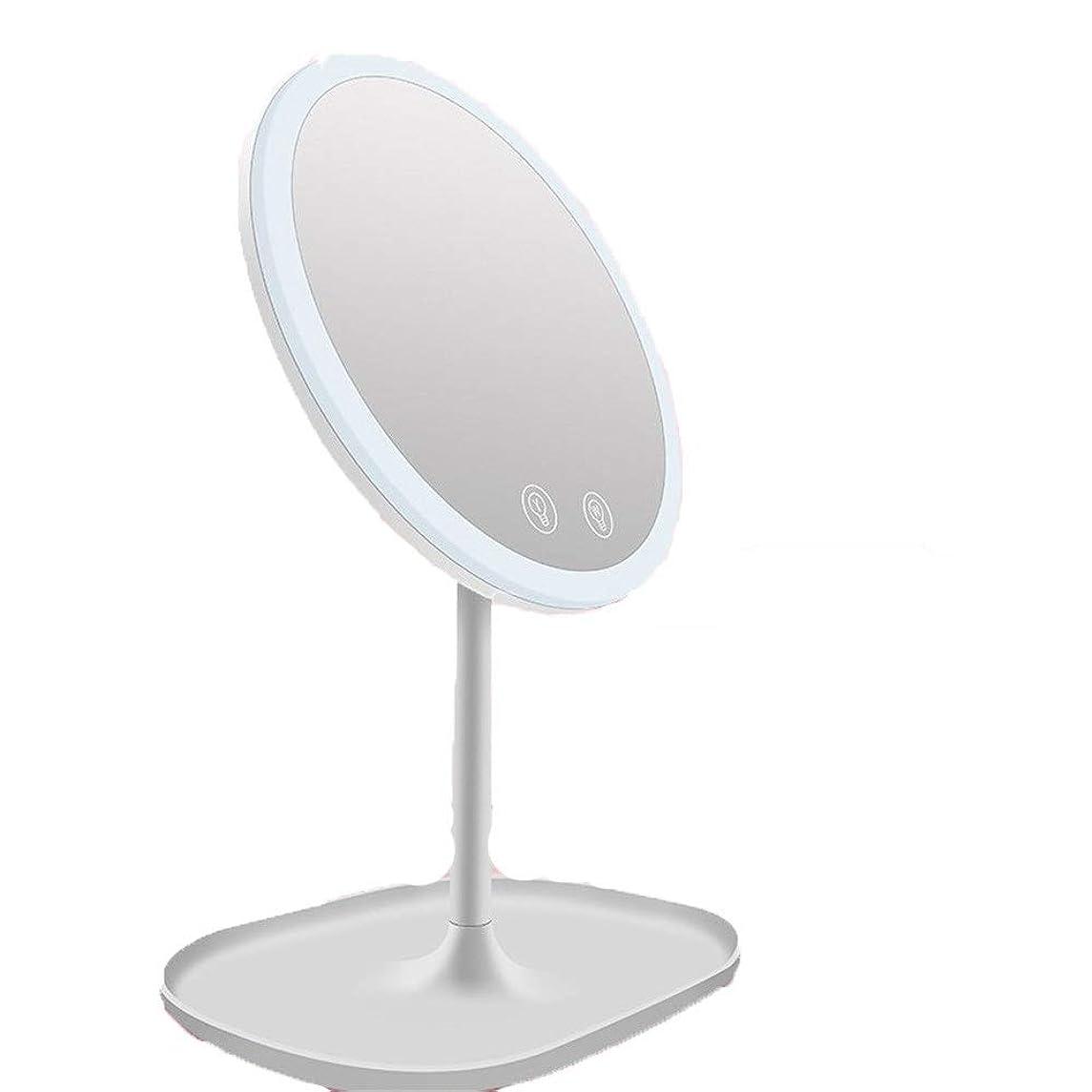 ペインギリックフルーティー雪の化粧鏡 照明付きメイクアップミラー充電式タッチコントロール調節可能なLEDライトバニティミラー10倍拡大卓上化粧鏡 女優の鏡 (色 : 白, サイズ : ワンサイズ)