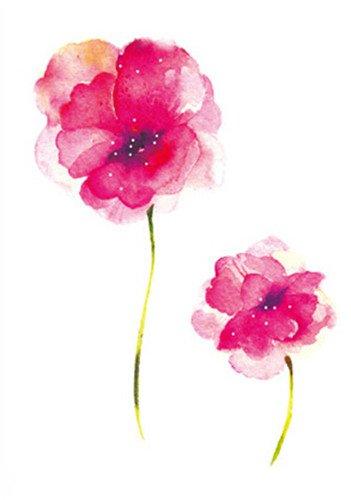 SanerLian Waterproof Temporary Fake Tattoo Stickers Watercolor Pink Flowers Oil Painting Set of 2
