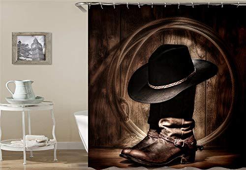 ZZZdz Cowboylaarzen Cowboyhoed touw. Waterdicht. Eenvoudig over te dragen. 12 vrije haken. 3D Hd-druk. Verbleekt niet. Douchegordijn 180 x 180 cm.