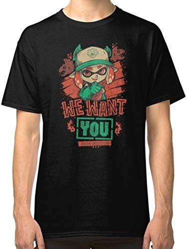 DouWo Splatoon Salmon Black T-Shirt Tees Clothing