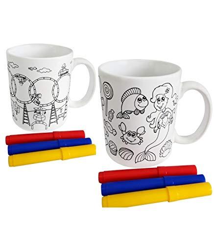 Lote de 10 Tazas para Colorear Pintar con 3 Rotuladores Incluidos - Tazas Infantiles Colegios, Guarderías y Detalles para Cumpleaños y Comuniones Originales Niños
