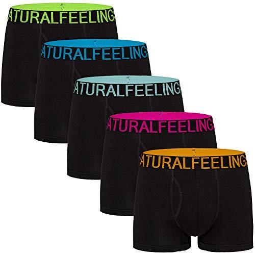 Lovemist Mens Underwear Open Fly Cotton Boxer Shorts Underwear, A: Black Pack of 5, M