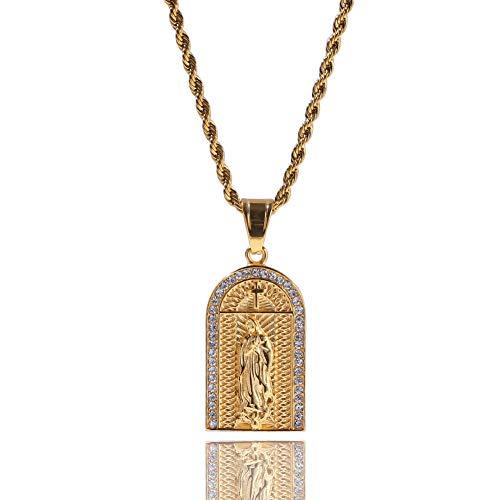Cadena de Hip Hop de los Hombres Religiosa Cruz Escrituras Medalla Virgen María Collar Colgante de Hielo Fuera Rhinestone Regalo de La Joyería