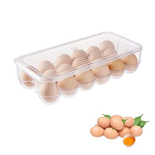 Huevera de Nevera, Soporte para Huevos de Nevera, Huevera Apilable con Tapa, Caja de Almacenamiento de Huevos Cubierta, para Almacenar Huevos, Huevos de Pato, Verduras Pequeñas y Frutas