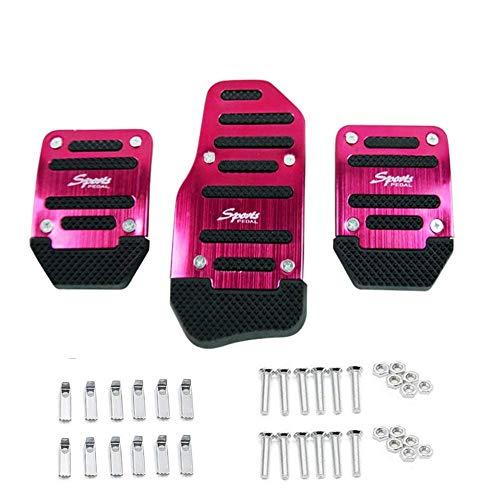 Automotive pedali pedale antiscivolo,3pezzi kit universale per cambio dei veicoli auto, Red, 3