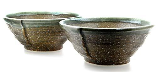 Goto Cuencos de cerámica Japonesa de amonita marrón y Verde para Dos