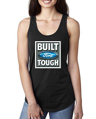 Built Ford Tough Logo | Womens Cars and Trucks Jersey Racerback Tank Top, Black, Medium