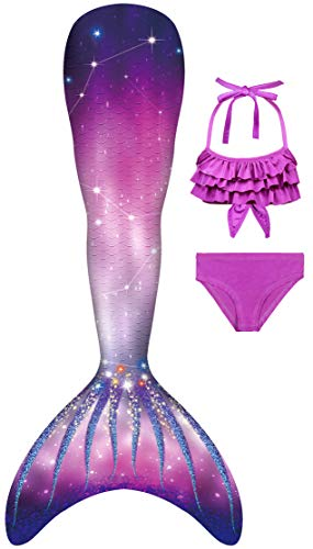 NAITOKE Coda Sirena con Bikini per Bambina Costume da Bagno-3PC,Senza Pinna