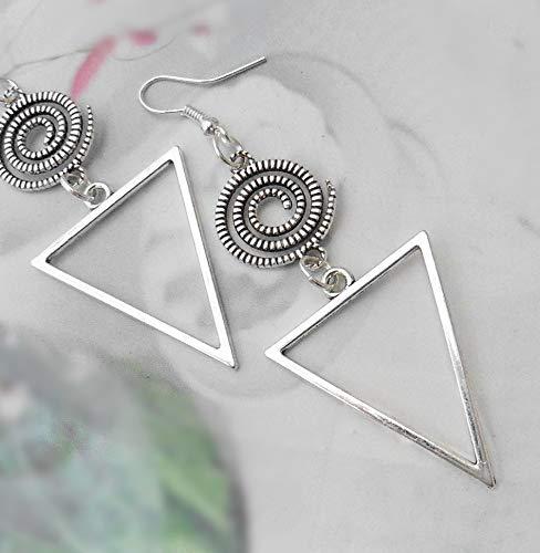 Ohrringe Dreieck Spirale minimalistisch XL Handmade Triangel edel schlicht